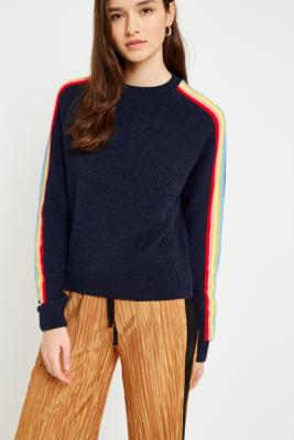 Cooperative by Urban Outfitters - Urban Outfitters Striped Rainbow Jumper, Navy