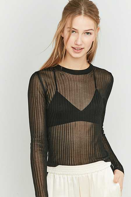 Light Before Dark Ribbed Mesh Top