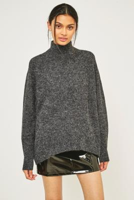 Light Before Dark - Light Before Dark Funnel Neck Oversized Cocoon Jumper, Dark Grey