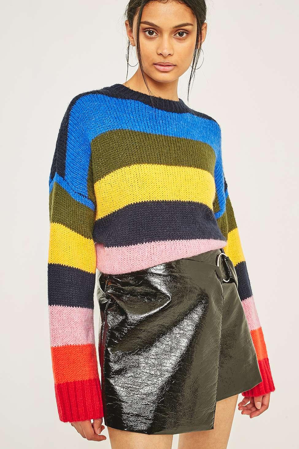 Rainbow block stripe jumper