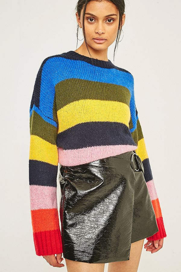 Rainbow block stripe jumper