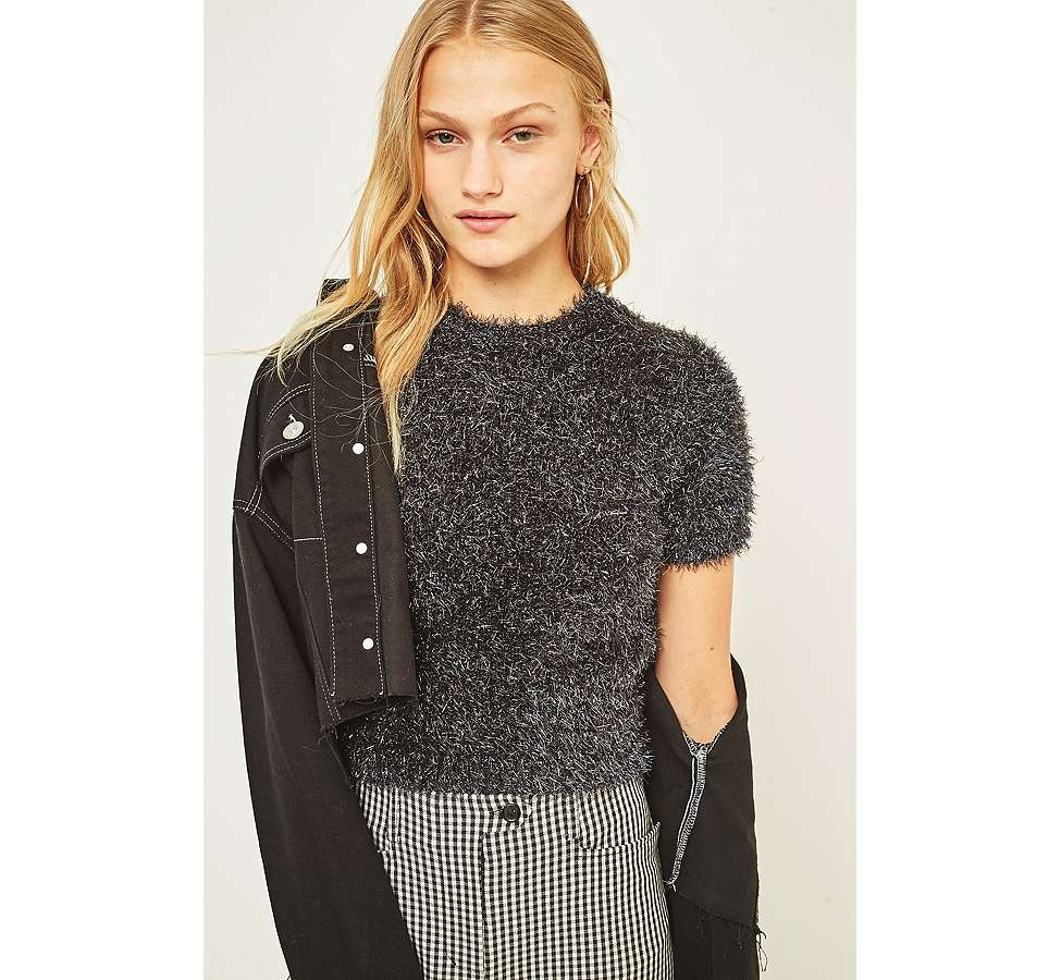 Slide View: 6: Urban Outfitters Firework Cropped Fuzzy Jumper