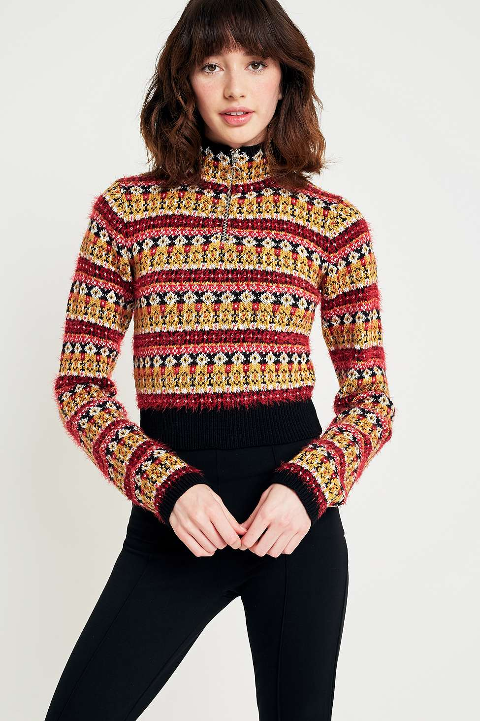 Urban Outfitters Fair Isle Cropped Half-Zip Jumper, Assorted