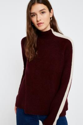 Light Before Dark - Light Before Dark Striped Sleeve Funnel Neck Jumper, Maroon