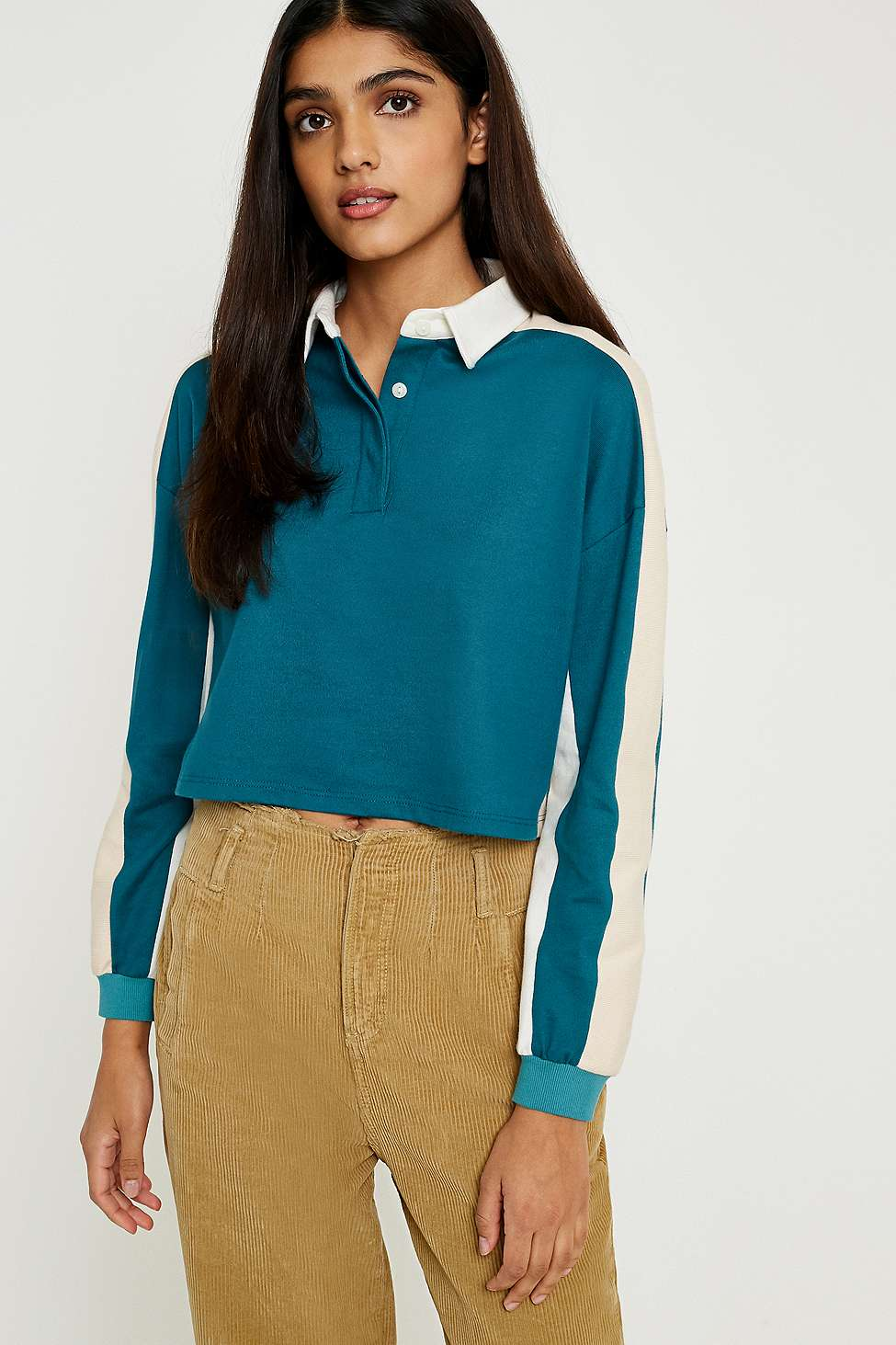BDG Colour-Blocked Cropped Polo Shirt, Green