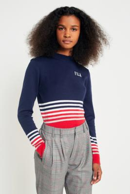 Fila - FILA Jenna Striped Cropped Knit Jumper, Navy