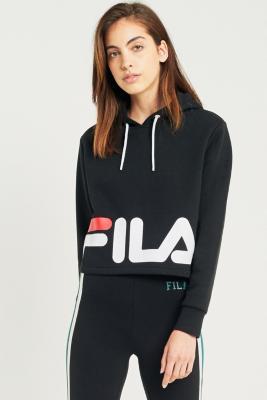 Fila - FILA Cora Logo Cropped Hoodie, Black
