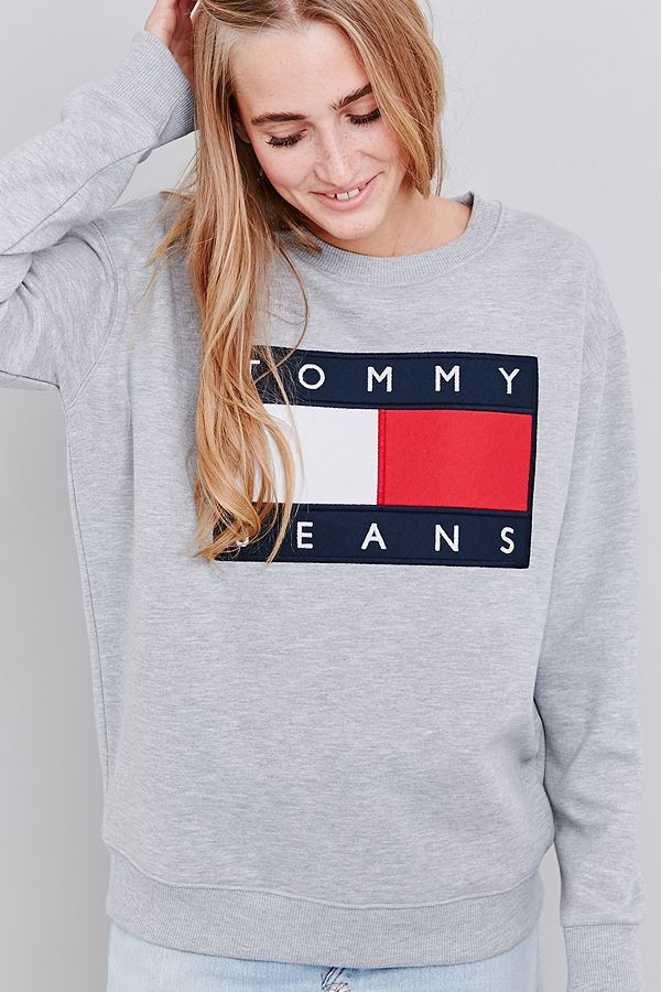 Your Urban Outfitters Gallery. UO Exclusive Tommy Jeans Grey Crew Neck  Sweatshirt 6b2bf534ac