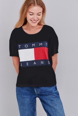 Tommy Jeans - T-shirt court à encolure carrée noir exclusivité UO - Femme 42