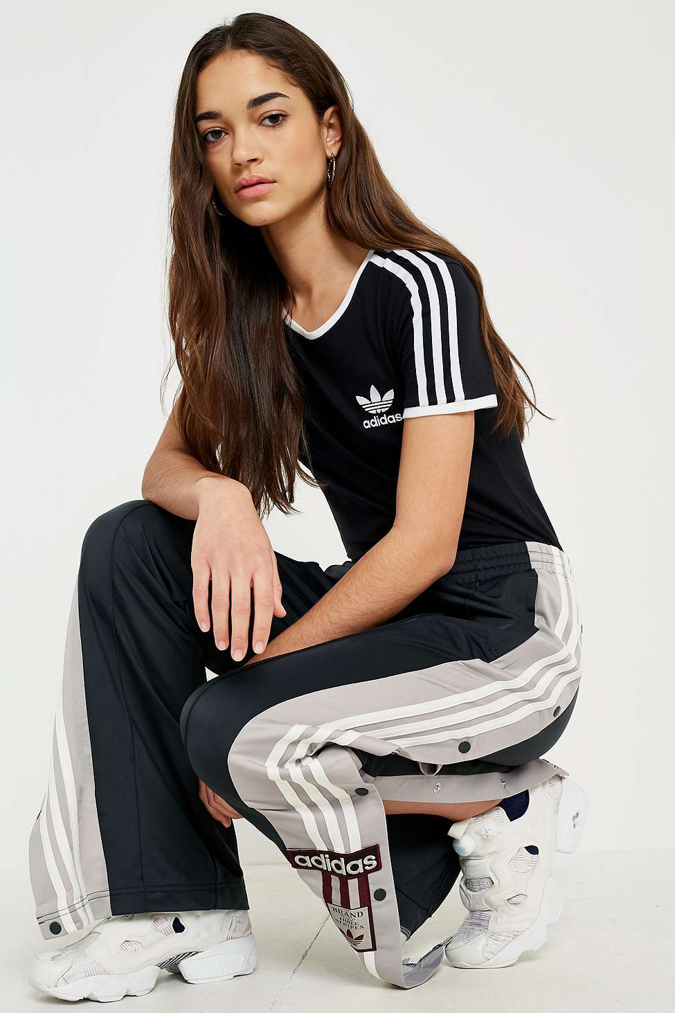 adidas Originals Sandra 3-Stripes Black T-shirt, Black
