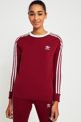 Adidas Originals - adidas Originals 3-Stripes Long Sleeve Maroon T-shirt, Maroon