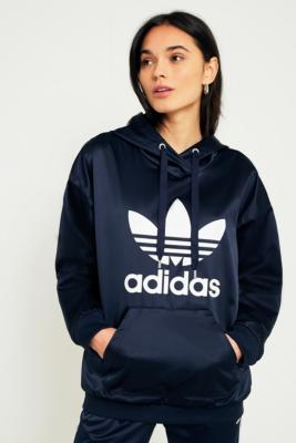 Adidas Originals - adidas Originals Europa Navy Satin Trefoil Hoodie, Navy