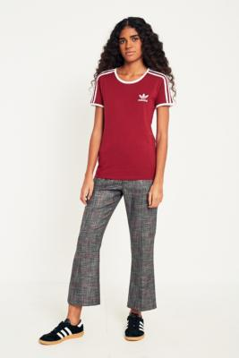 Adidas Originals - adidas Originals Sandra Burgundy 3-Stripe T-Shirt, Maroon