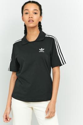 adidas Originals 3Stripe Black Polo TShirt Black