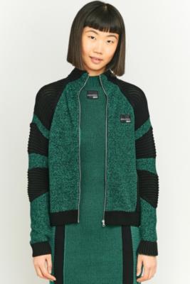 adidas Originals Equipment Green Colour Block Knit Zip Up Cardigan GREEN