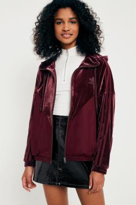 Adidas Originals - adidas Originals Velvet Hoodie Track Jacket, Maroon