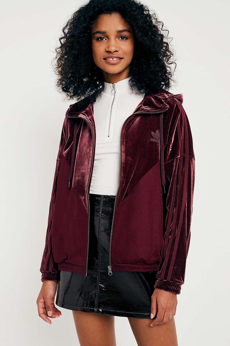 adidas Originals Velvet Hoodie Track Jacket, Maroon