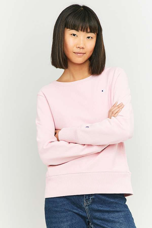 Champion Small Logo Pink Sweatshirt | Urban Outfitters