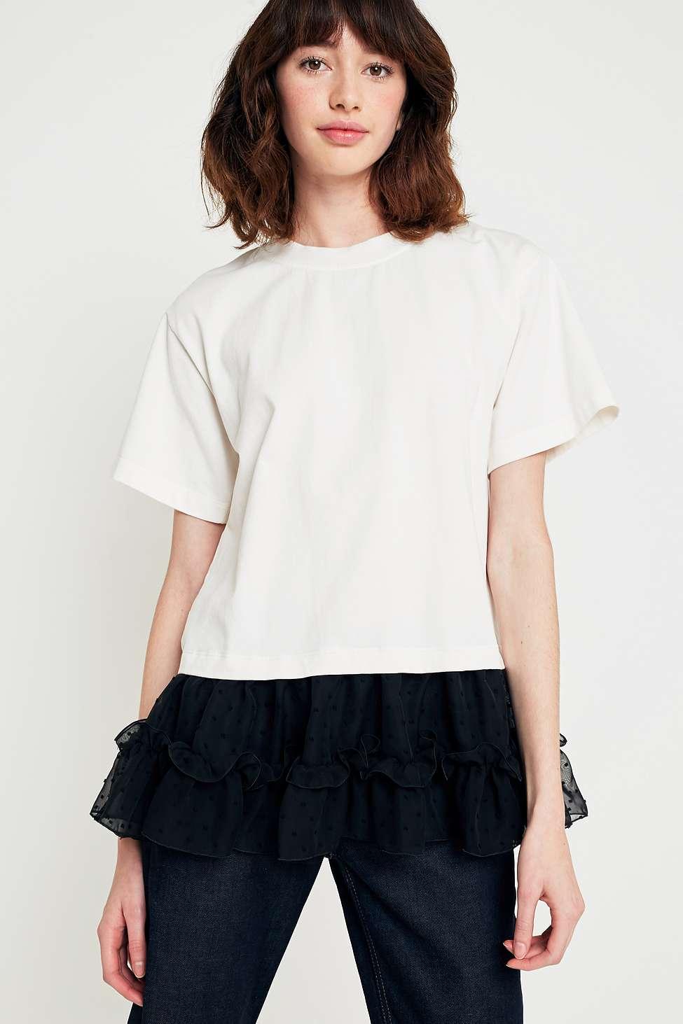 MM6 Tulle Hem T-Shirt, Black  &  White