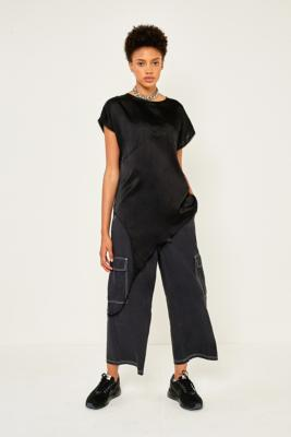 MM6 Maison Margiela - MM6 Asymmetrical Black Satin Arm Loop Top, Black