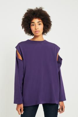 MM6 Maison Margiela - MM6 Purple Cold Shoulder Sweatshirt, Purple