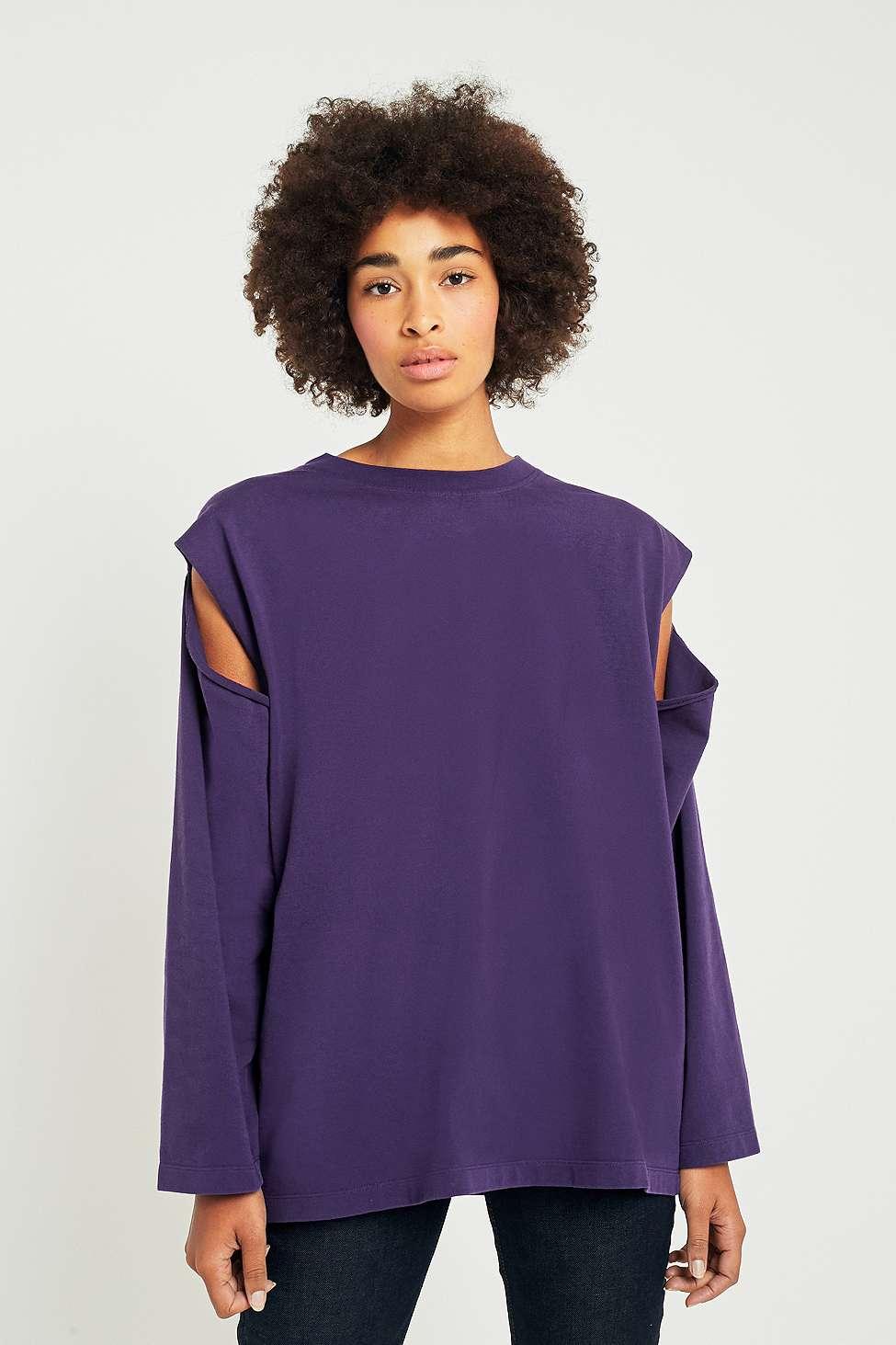MM6 Purple Cold Shoulder Sweatshirt, Purple