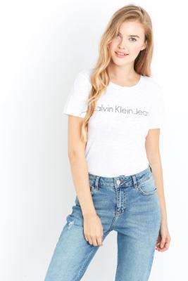 Calvin Klein Jeans Logo White T-shirt, WHITE