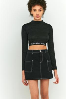 Calvin Klein Black Banded Logo Long Sleeve Crop Top, BLACK