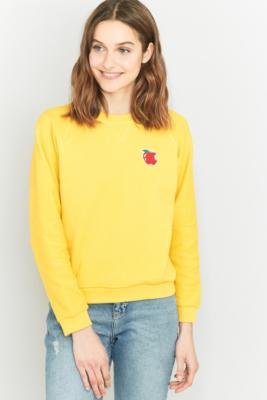 UO Exclusive Peter Jensen Apple Reverse Knit Sweatshirt YELLOW