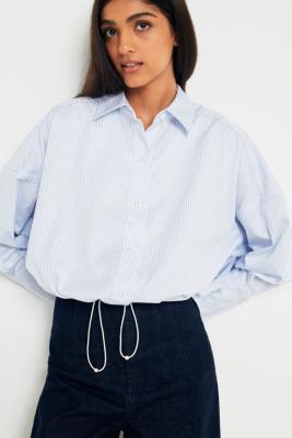 Angel Chen - Angel Chen Striped Button-Down Bungee Hem Shirt, Sky