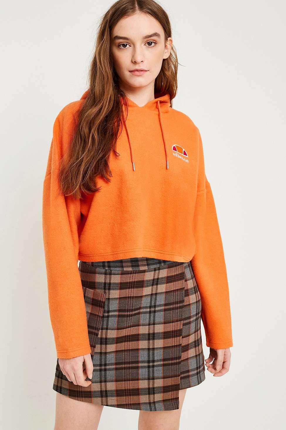 Ellesse Reverse Weave Cropped Hoodie, Orange