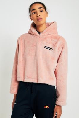Ellesse Faux Fur Cropped Hoodie Urban Outfitters Uk