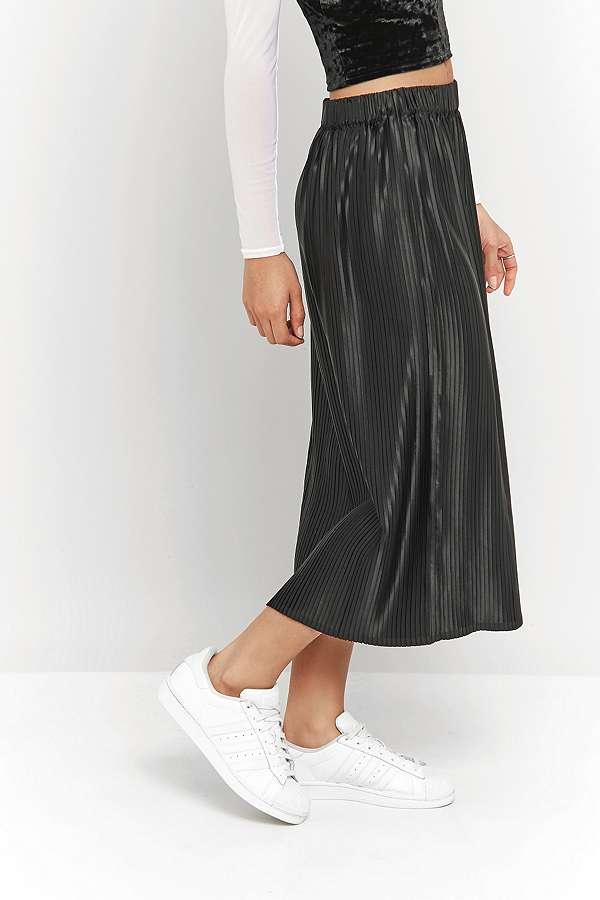 Light Before Dark Pleated Black Satin Midi Tube Skirt | Urban ...