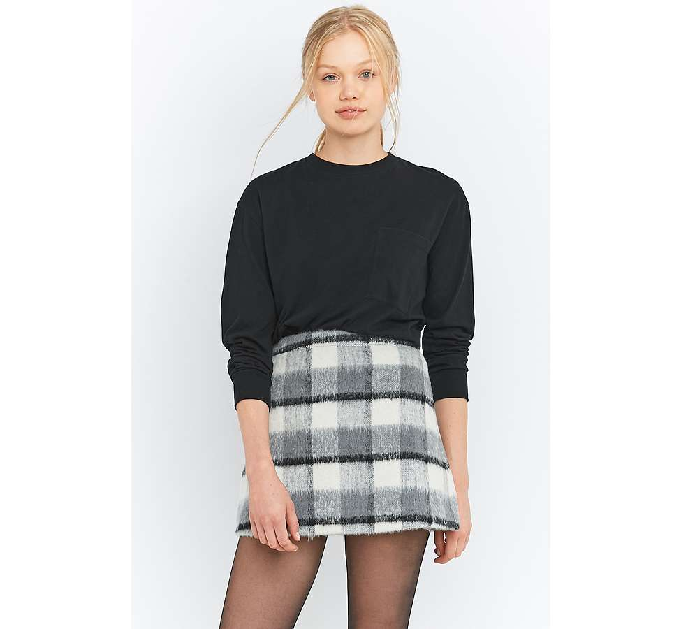 Slide View: 1: Urban Outfitters Fluffy Checked A-Line Mini Skirt