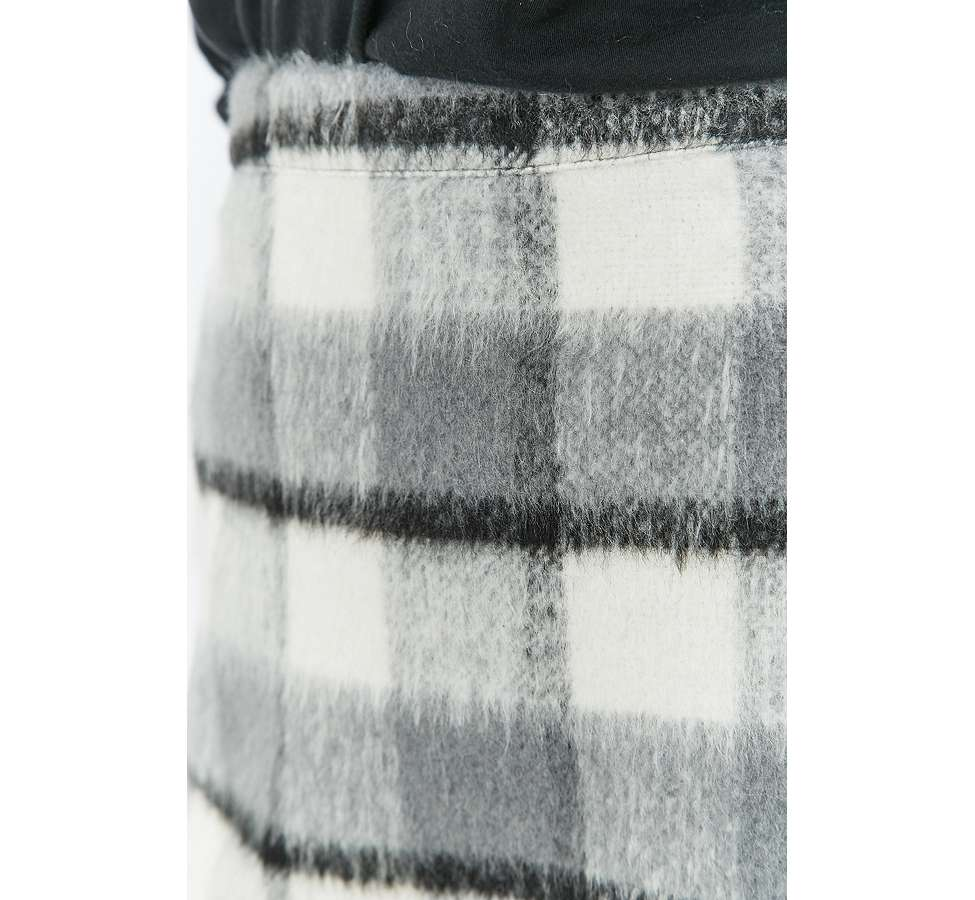 Slide View: 3: Urban Outfitters Fluffy Checked A-Line Mini Skirt