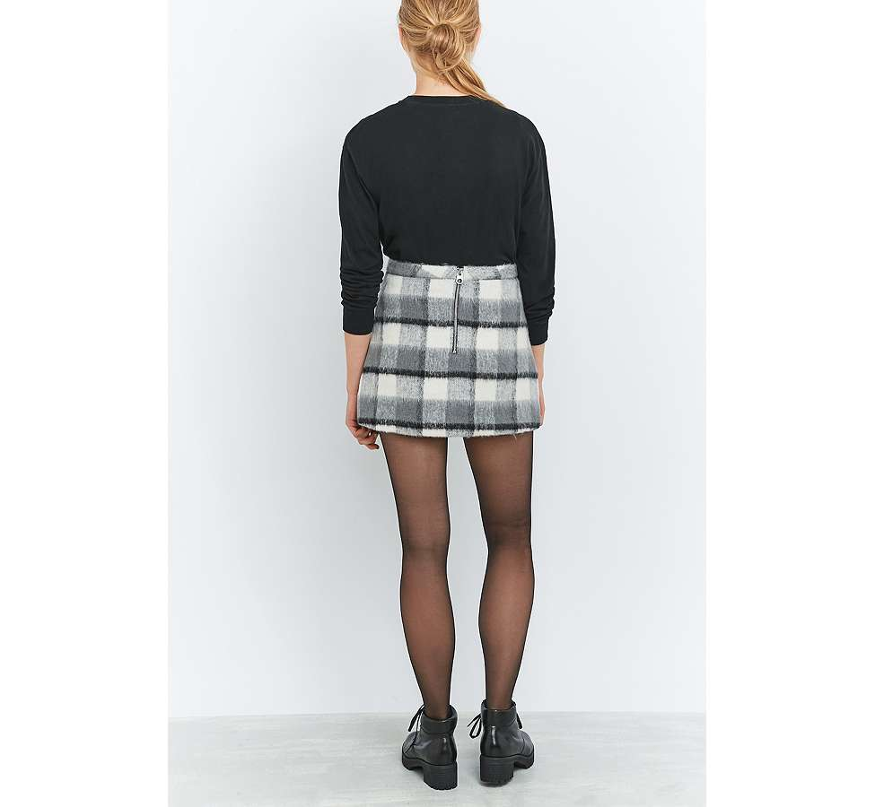 Slide View: 4: Urban Outfitters Fluffy Checked A-Line Mini Skirt