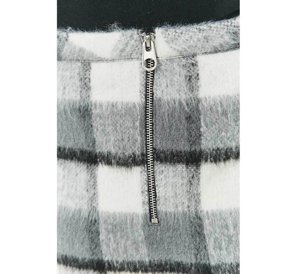 Slide View: 5: Urban Outfitters Fluffy Checked A-Line Mini Skirt