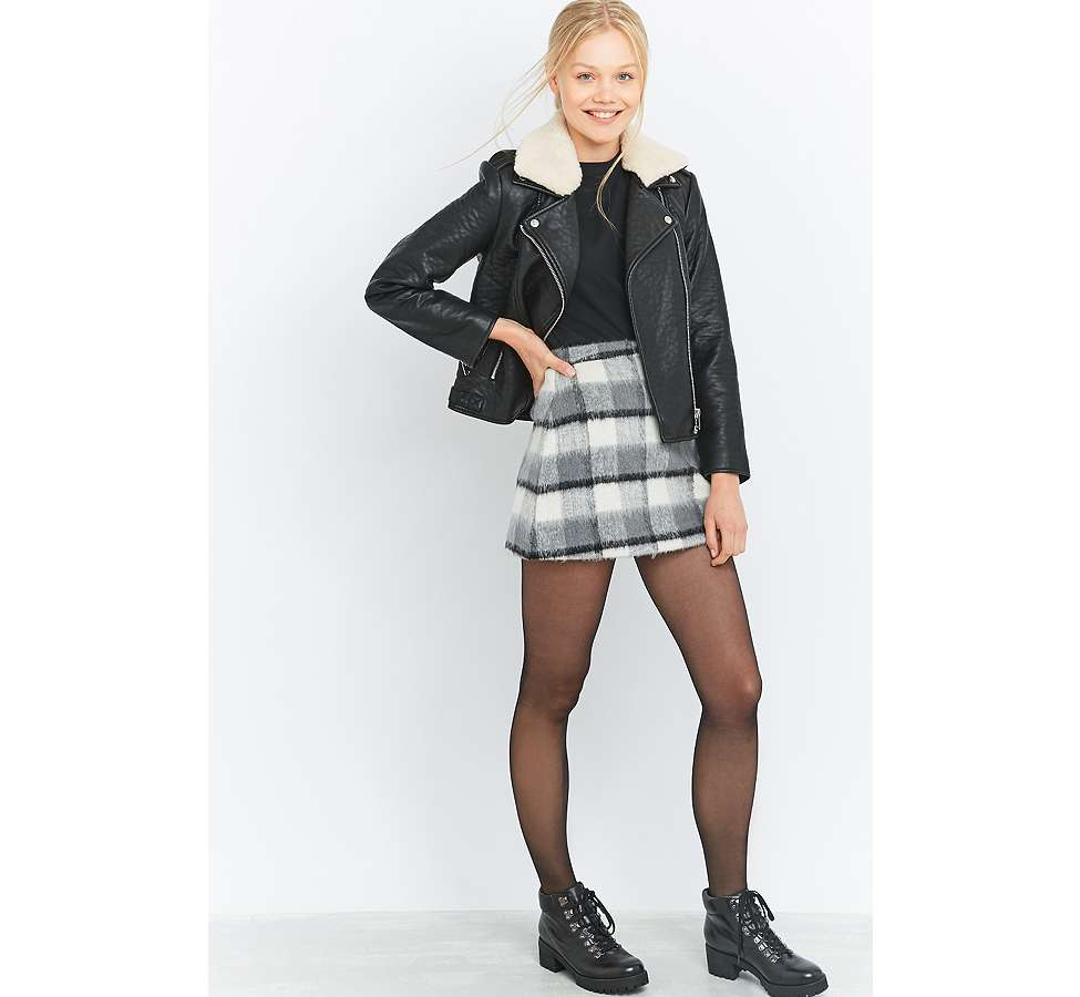 Slide View: 6: Urban Outfitters Fluffy Checked A-Line Mini Skirt