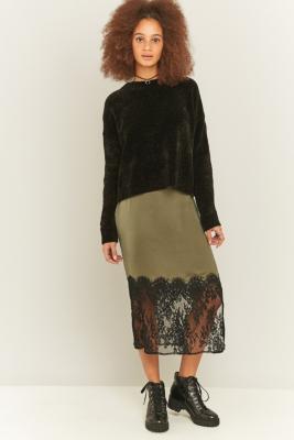 pins-needles-lace-hem-khaki-satin-midi-skirt-womens-xs