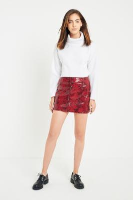 Light Before Dark - Light Before Dark Red Snakeskin Skirt, Red