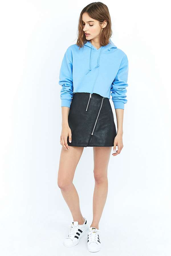 Light Before Dark Asymmetrical Zip Black Faux-Leather Skirt ...