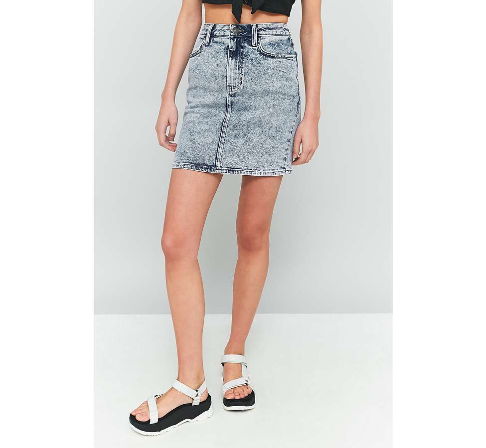 Slide View: 3: BDG Acid Wash Denim Pencil Skirt