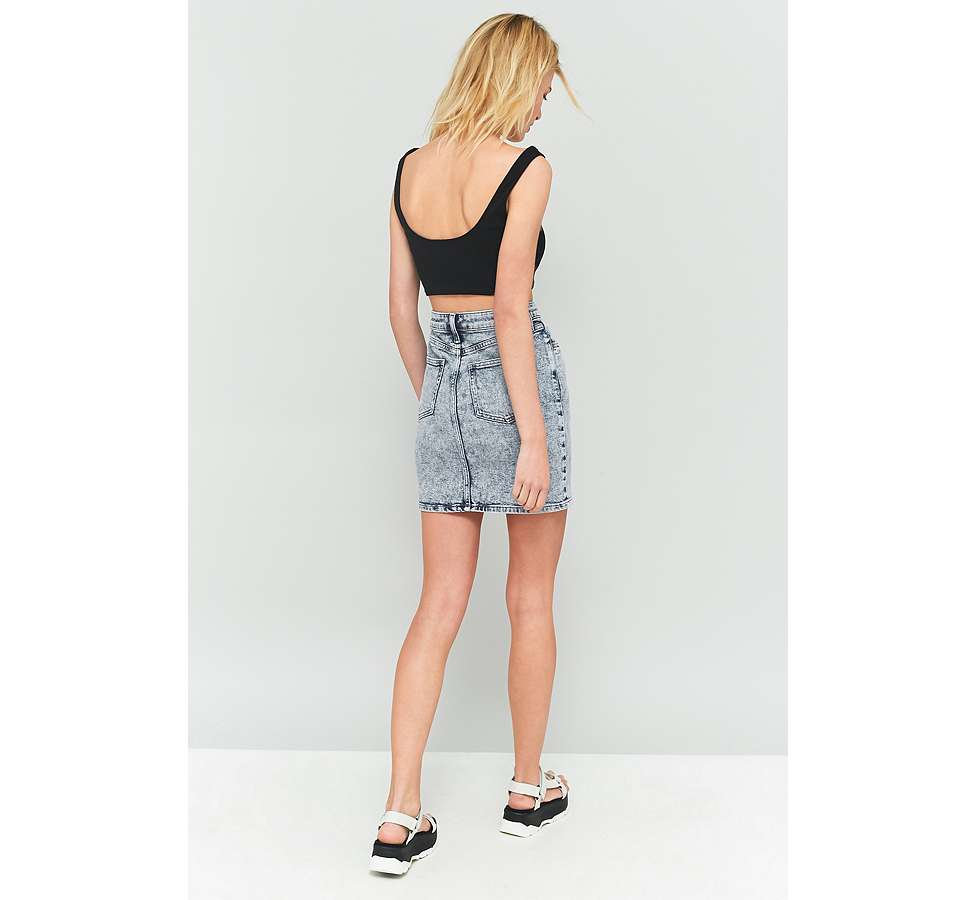 Slide View: 5: BDG Acid Wash Denim Pencil Skirt