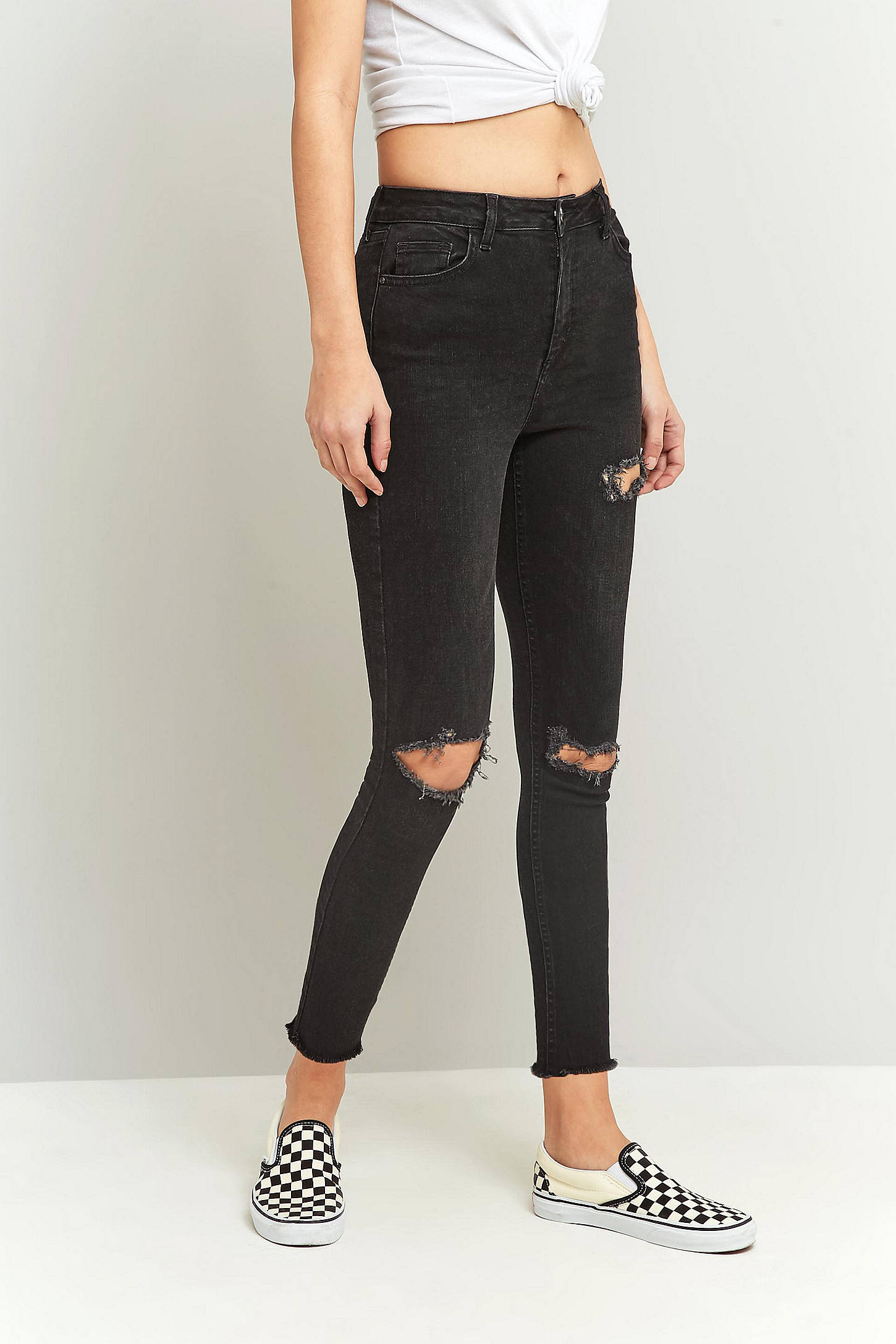 BDG Pine Cropped Destroyed Raw Hem Black Jeans | Urban Outfitters