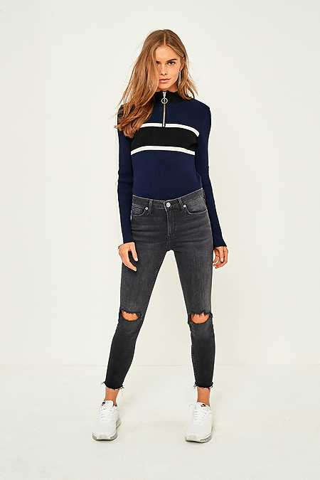 BDG Breeze Skinny Patch Cropped Jeans
