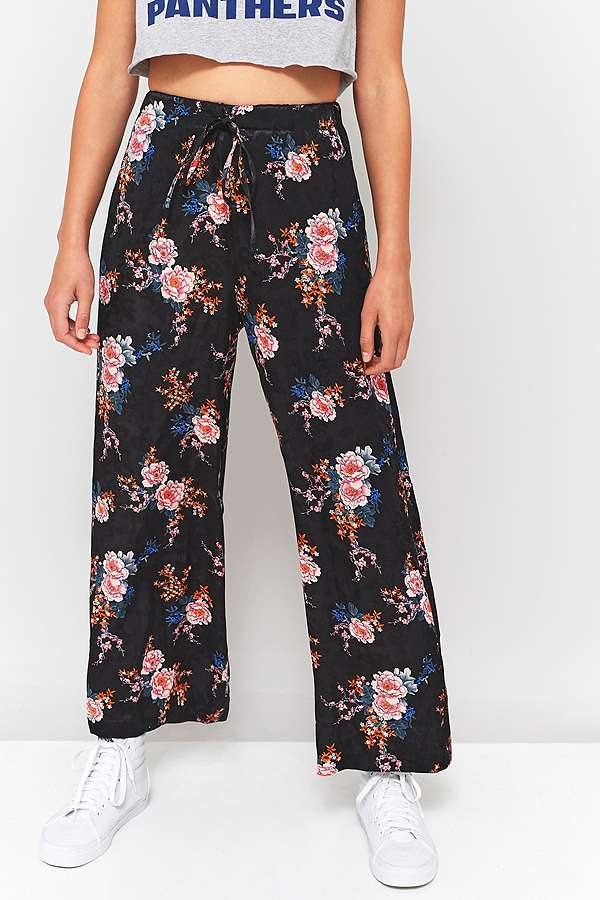 Slide View: 2: Light Before Dark Pink Floral Satin Tie-Waist Wide Leg Trousers