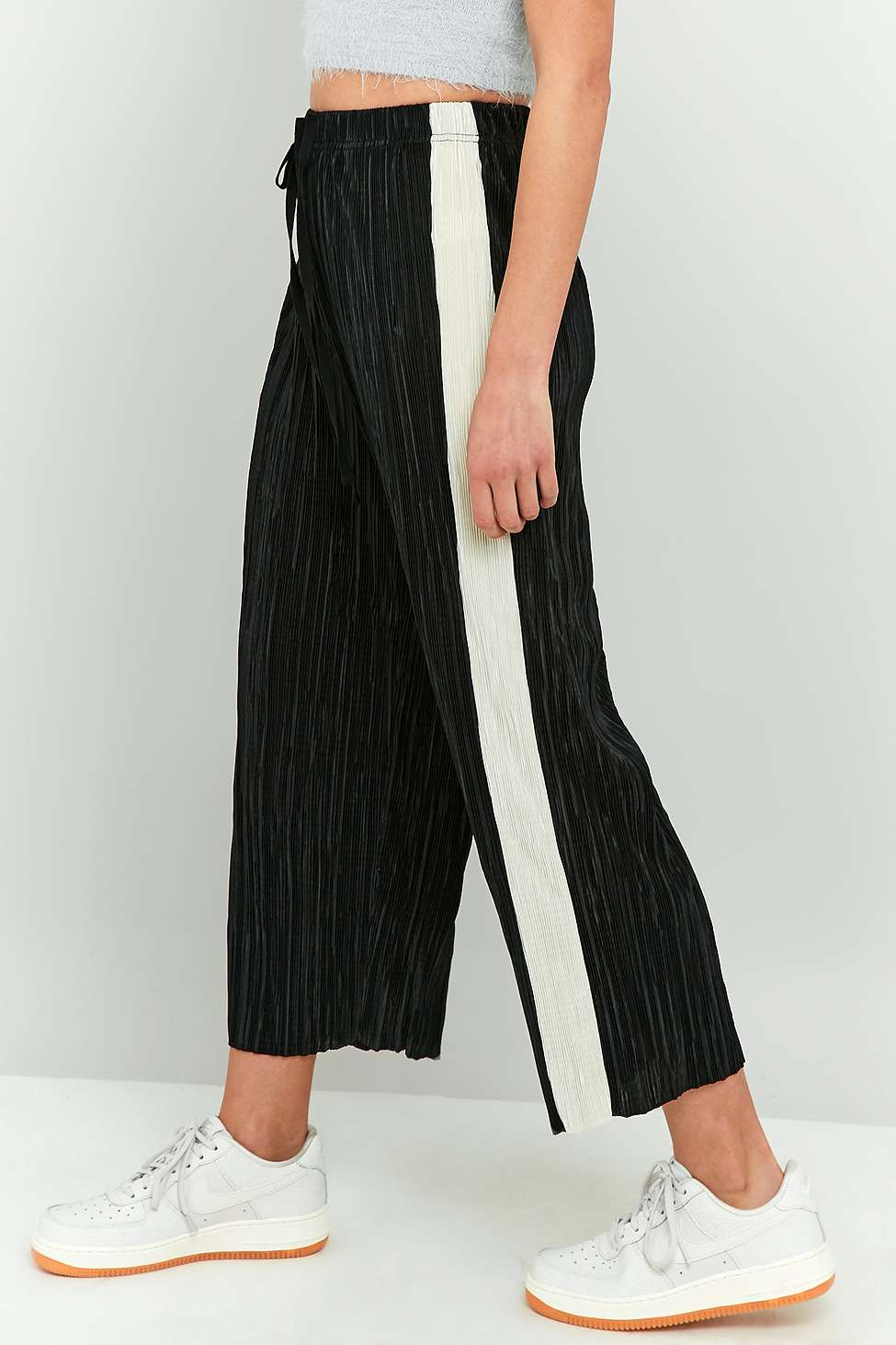 Slide View: 1: Light Before Dark Awkward Length Side Stripe Plisse Trousers