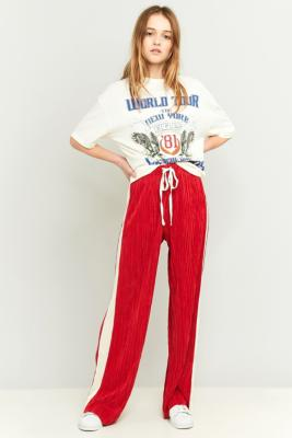 Light Before Dark Side Striped Pleated Red Puddle Trousers Red