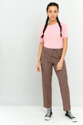 Light Before Dark Pink Gingham Slim StraightLeg Trousers Pink