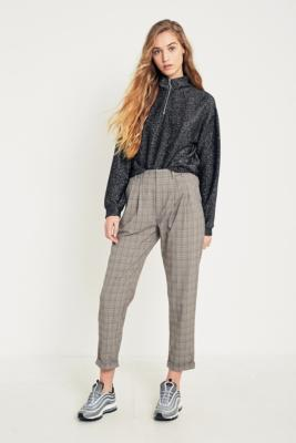 Light Before Dark - Light Before Dark Brown Check Pleated Front Trousers, Brown